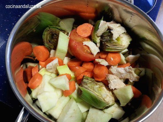verduras picadas para nuestra receta de lentejas con alcachofas