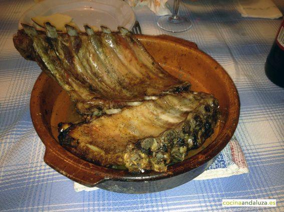 Costillas de cerdo al horno de leña