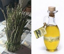 Necesitamos un manojo pequeño de esparragos y aceite de oliva virgen extra